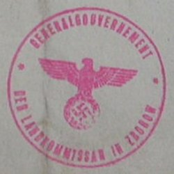 stempel GG Landkomissar in Zborow